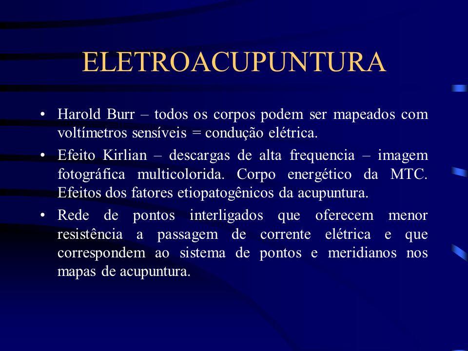 ELETROACUPUNTURA Harold Burr – todos os corpos podem ser mapeados com voltímetros sensíveis = condução elétrica. Efeito Kirlian – descargas de alta fr