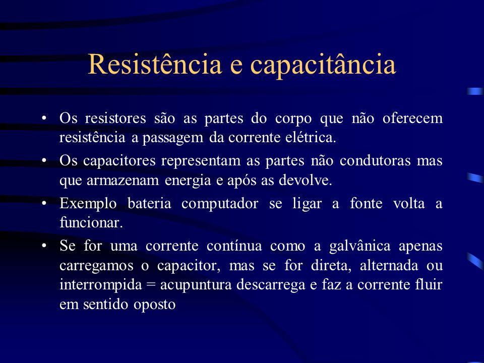 Resistência e capacitância Os resistores são as partes do corpo que não oferecem resistência a passagem da corrente elétrica. Os capacitores represent