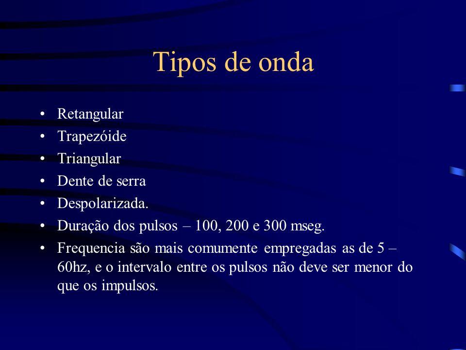 Tipos de onda Retangular Trapezóide Triangular Dente de serra Despolarizada. Duração dos pulsos – 100, 200 e 300 mseg. Frequencia são mais comumente e