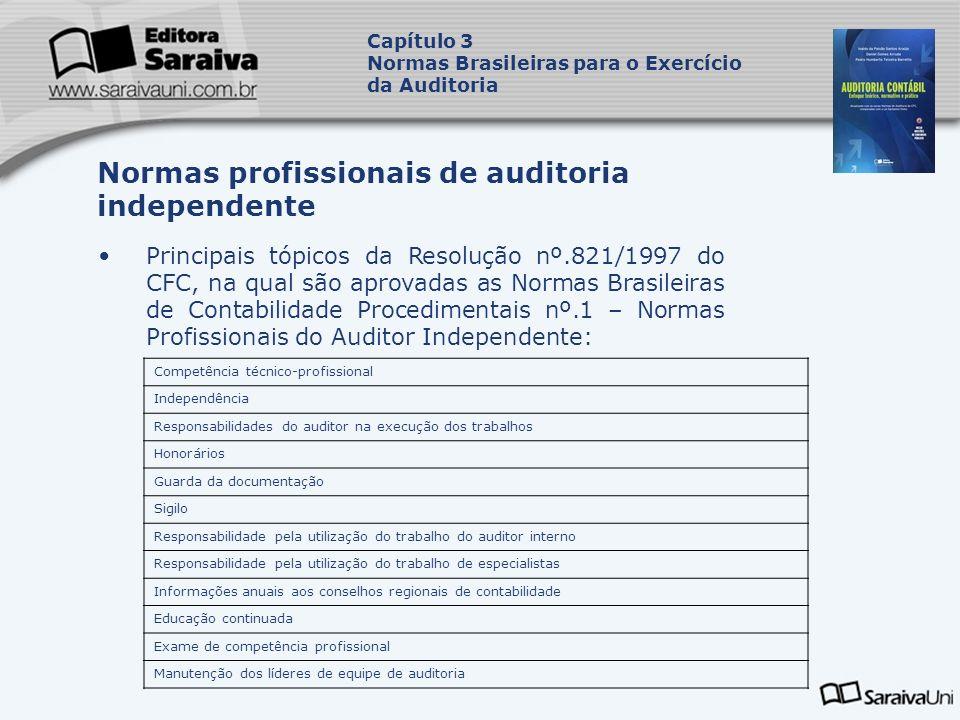 Principais tópicos da Resolução nº.821/1997 do CFC, na qual são aprovadas as Normas Brasileiras de Contabilidade Procedimentais nº.1 – Normas Profissi
