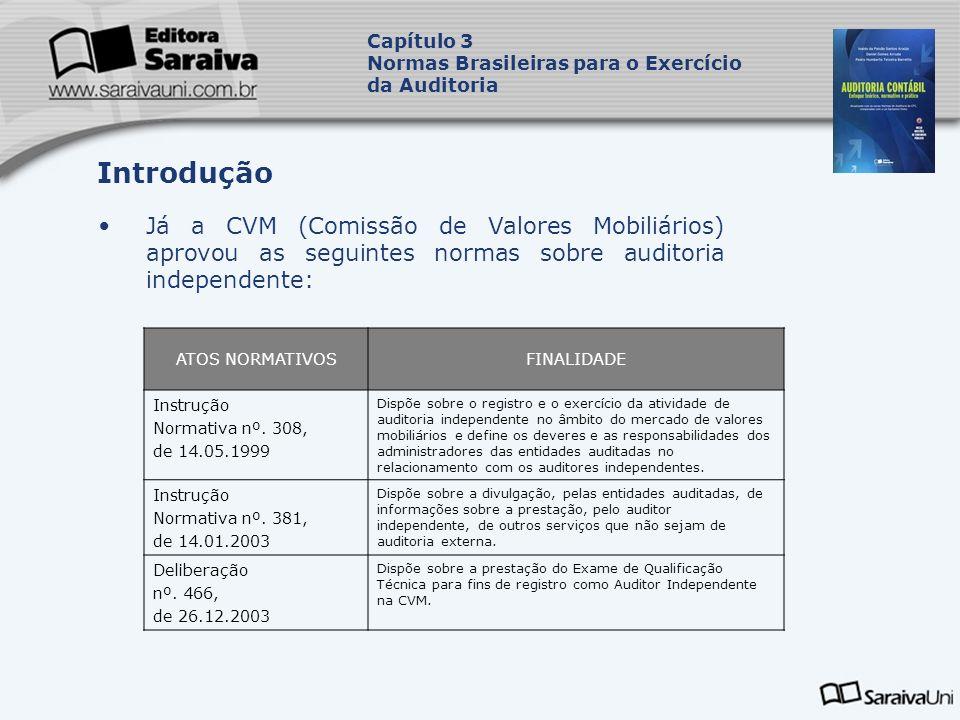 Já a CVM (Comissão de Valores Mobiliários) aprovou as seguintes normas sobre auditoria independente: Capítulo 3 Normas Brasileiras para o Exercício da