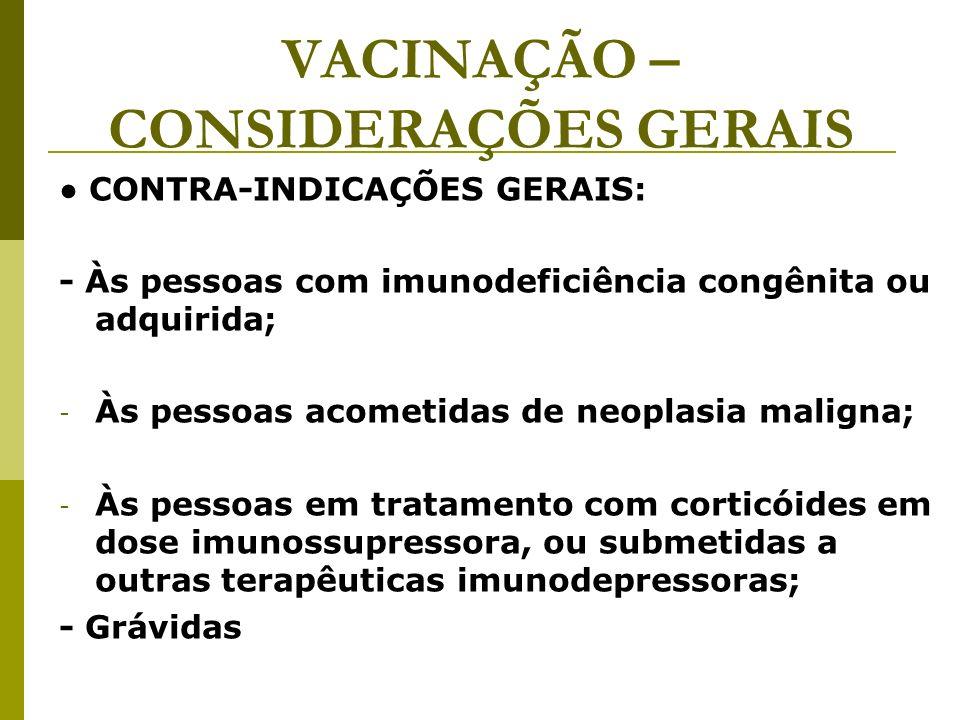VACINAÇÃO – CONSIDERAÇÕES GERAIS CONTRA-INDICAÇÕES GERAIS: - Às pessoas com imunodeficiência congênita ou adquirida; - Às pessoas acometidas de neopla