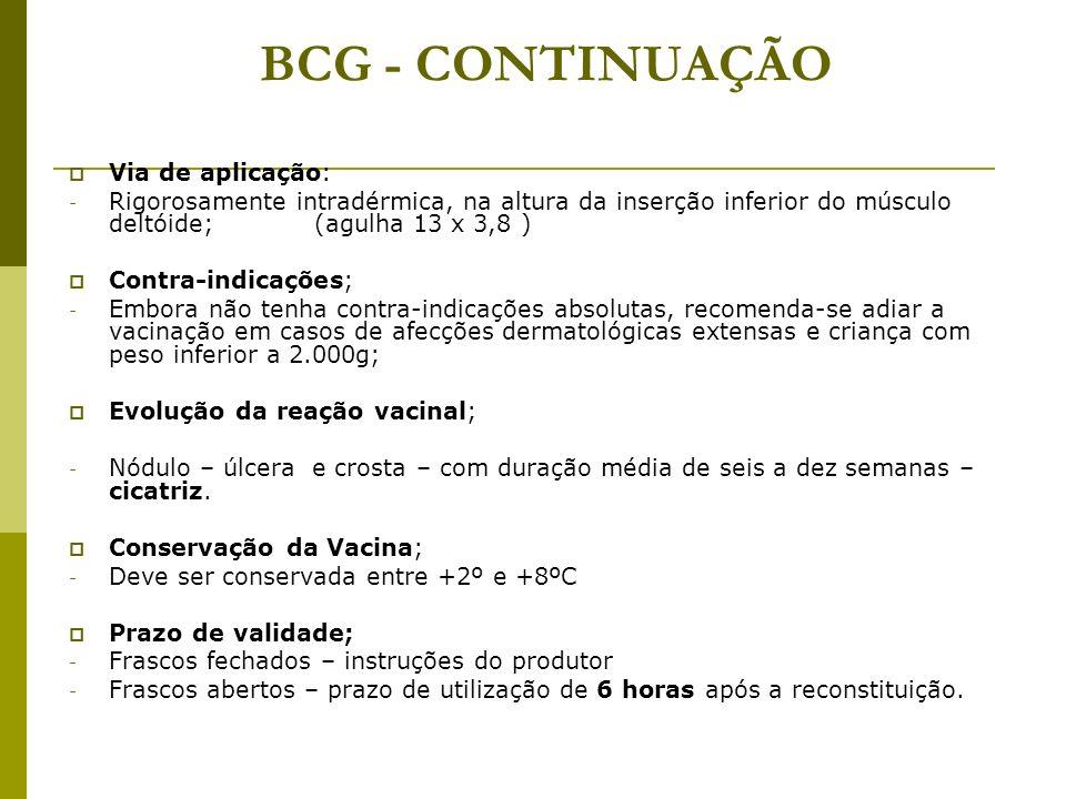 BCG - CONTINUAÇÃO Via de aplicação: - Rigorosamente intradérmica, na altura da inserção inferior do músculo deltóide; (agulha 13 x 3,8 ) Contra-indica
