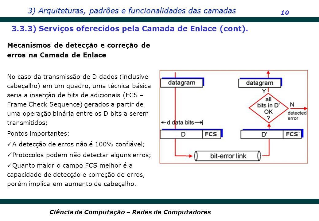 3) Arquiteturas, padrões e funcionalidades das camadas 10 Ciência da Computação – Redes de Computadores 3.3.3) Serviços oferecidos pela Camada de Enla