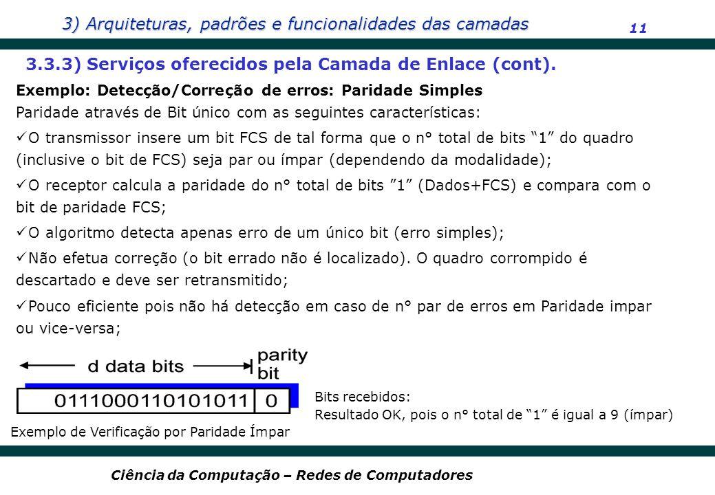 3) Arquiteturas, padrões e funcionalidades das camadas 11 Ciência da Computação – Redes de Computadores Exemplo: Detecção/Correção de erros: Paridade
