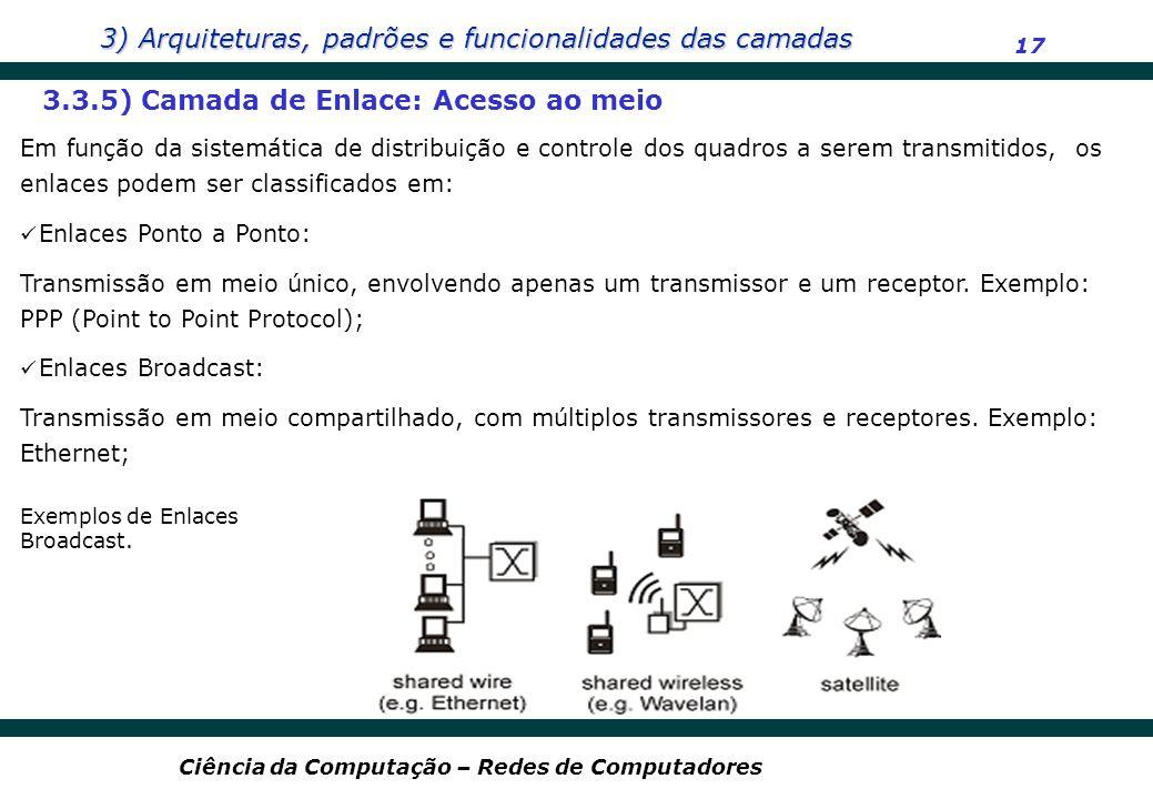 3) Arquiteturas, padrões e funcionalidades das camadas 17 Ciência da Computação – Redes de Computadores 3.3.5) Camada de Enlace: Acesso ao meio Em fun