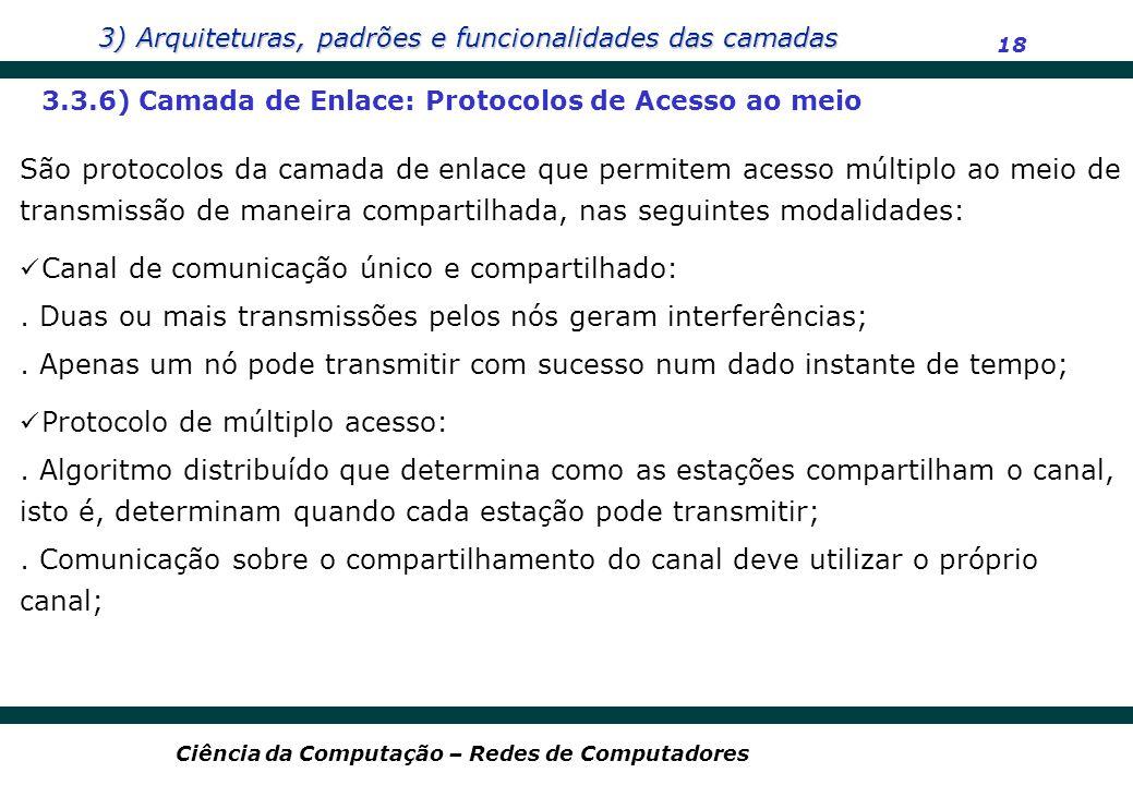 3) Arquiteturas, padrões e funcionalidades das camadas 18 Ciência da Computação – Redes de Computadores 3.3.6) Camada de Enlace: Protocolos de Acesso