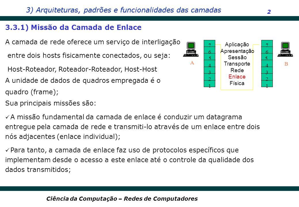 3) Arquiteturas, padrões e funcionalidades das camadas 2 Ciência da Computação – Redes de Computadores 7 6 4 3 2 1 A B Aplicação Apresentação Sessão T