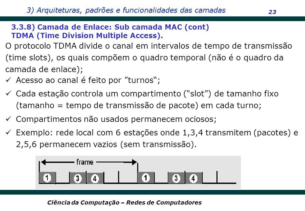 3) Arquiteturas, padrões e funcionalidades das camadas 23 Ciência da Computação – Redes de Computadores 3.3.8) Camada de Enlace: Sub camada MAC (cont)