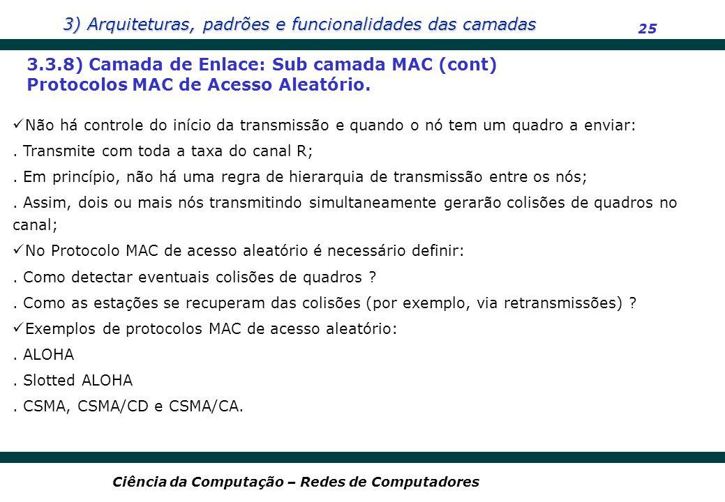 3) Arquiteturas, padrões e funcionalidades das camadas 25 Ciência da Computação – Redes de Computadores 3.3.8) Camada de Enlace: Sub camada MAC (cont)