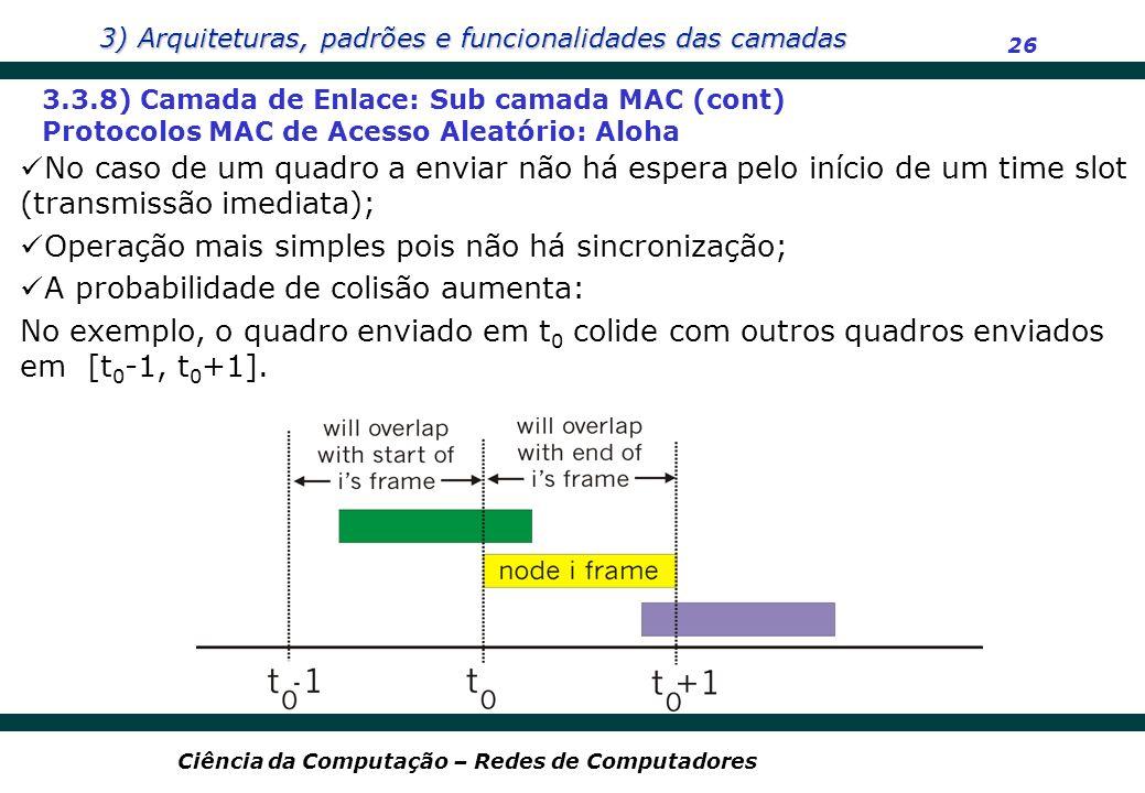 3) Arquiteturas, padrões e funcionalidades das camadas 26 Ciência da Computação – Redes de Computadores 3.3.8) Camada de Enlace: Sub camada MAC (cont)