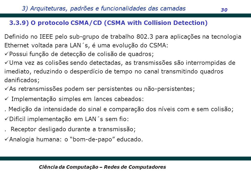 3) Arquiteturas, padrões e funcionalidades das camadas 30 Ciência da Computação – Redes de Computadores 3.3.9) O protocolo CSMA/CD (CSMA with Collisio