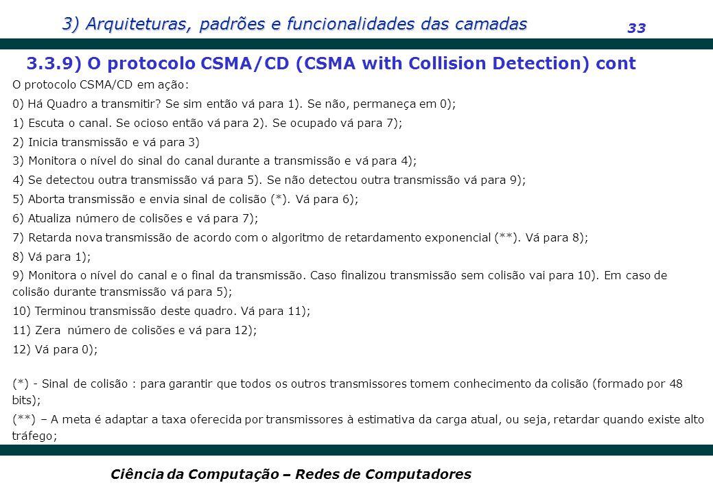 3) Arquiteturas, padrões e funcionalidades das camadas 33 Ciência da Computação – Redes de Computadores 3.3.9) O protocolo CSMA/CD (CSMA with Collisio