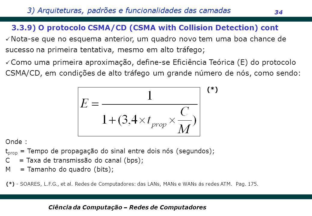 3) Arquiteturas, padrões e funcionalidades das camadas 34 Ciência da Computação – Redes de Computadores 3.3.9) O protocolo CSMA/CD (CSMA with Collisio