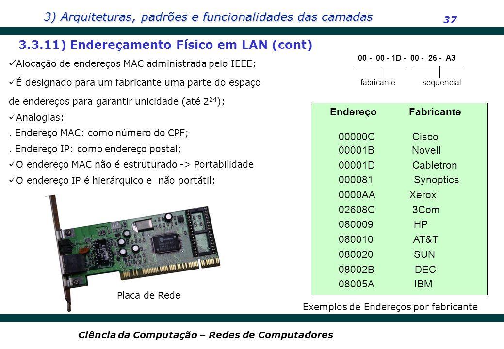 3) Arquiteturas, padrões e funcionalidades das camadas 37 Ciência da Computação – Redes de Computadores 3.3.11) Endereçamento Físico em LAN (cont) Alo