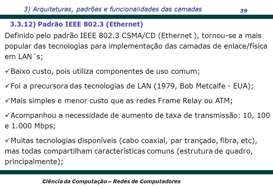 3) Arquiteturas, padrões e funcionalidades das camadas 39 Ciência da Computação – Redes de Computadores 3.3.12) Padrão IEEE 802.3 (Ethernet) Definido