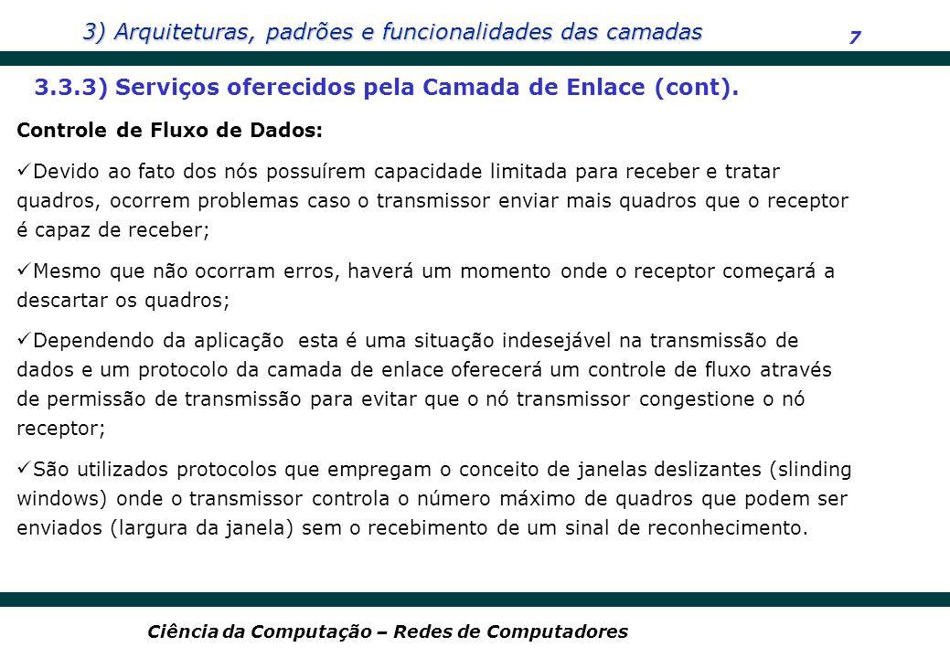 3) Arquiteturas, padrões e funcionalidades das camadas 7 Ciência da Computação – Redes de Computadores 3.3.3) Serviços oferecidos pela Camada de Enlac
