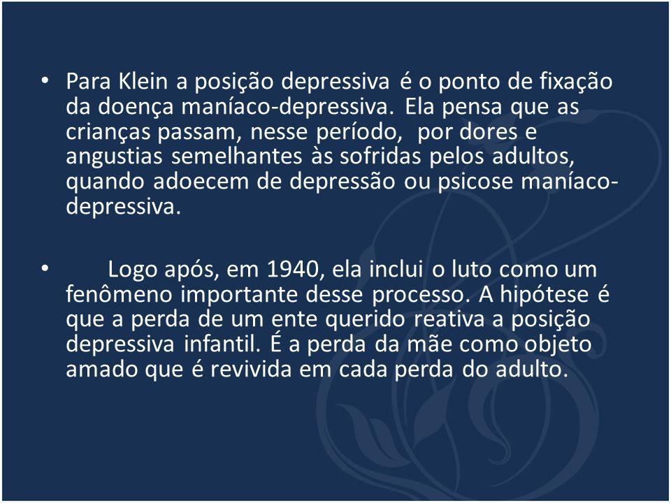 Para Klein a posição depressiva é o ponto de fixação da doença maníaco-depressiva. Ela pensa que as crianças passam, nesse período, por dores e angust