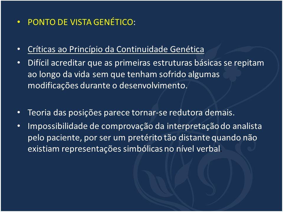 PONTO DE VISTA GENÉTICO: Críticas ao Princípio da Continuidade Genética Difícil acreditar que as primeiras estruturas básicas se repitam ao longo da v