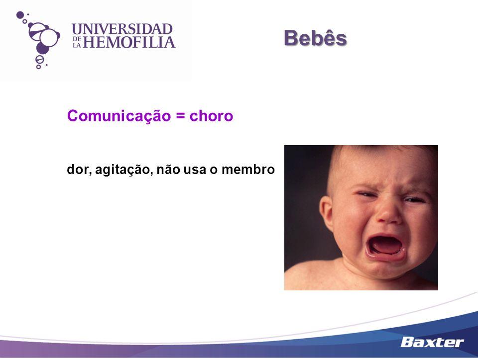 Bebês Bebês Comunicação = choro dor, agitação, não usa o membro