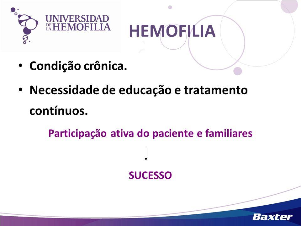 HEMOFILIA Condição crônica. Necessidade de educação e tratamento contínuos. Participação ativa do paciente e familiares SUCESSO