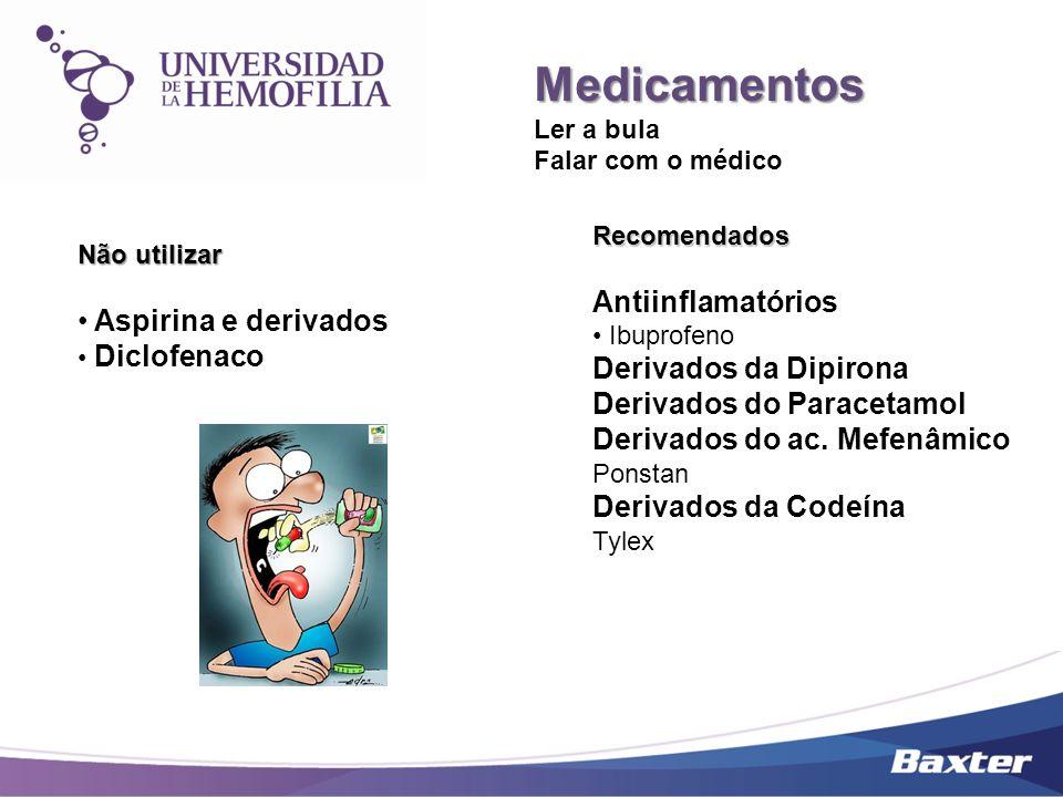 Medicamentos Ler a bula Falar com o médico Não utilizar Aspirina e derivados Diclofenaco Recomendados Antiinflamatórios Ibuprofeno Derivados da Dipiro