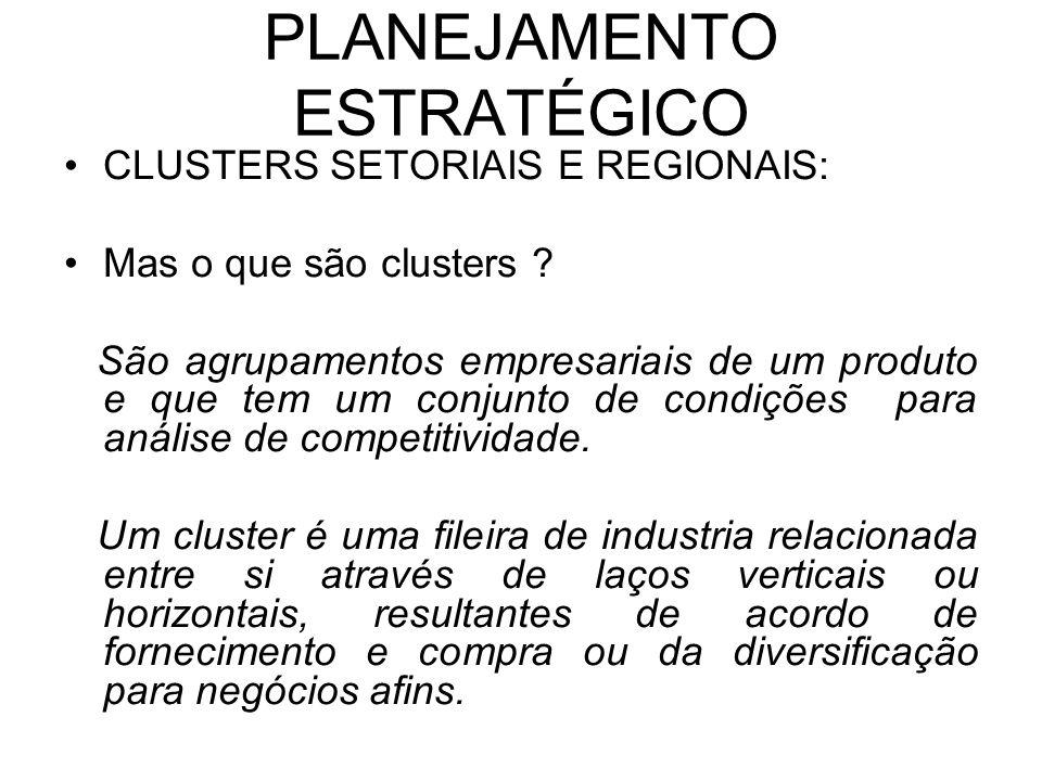 PLANEJAMENTO ESTRATÉGICO CATEGORIAS: -Industrias de base (ex: cluster informático) -Funções industriais e de suporte (ex: telecomunicações) -Bens e serviços de consumo final (ex: alimentação e bebidas) * Um cluster individual pode ainda ser decomposto em setores (ex: cluster de transportes) A posição relativa de uma nação depende não só do número de clusters em que é competitiva, mas também da profundidade das inter-relações entre as industrias de cada um desses clusters.