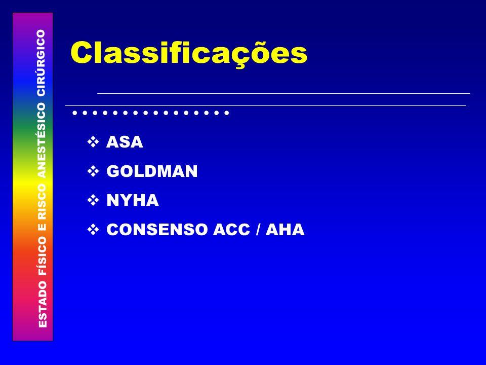 ESTADO FÍSICO E RISCO ANESTÉSICO CIRÚRGICO................ Classificações ASA GOLDMAN NYHA CONSENSO ACC / AHA