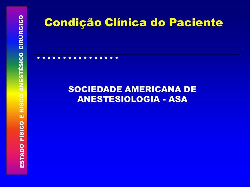 ESTADO FÍSICO E RISCO ANESTÉSICO CIRÚRGICO................ Condição Clínica do Paciente SOCIEDADE AMERICANA DE ANESTESIOLOGIA - ASA