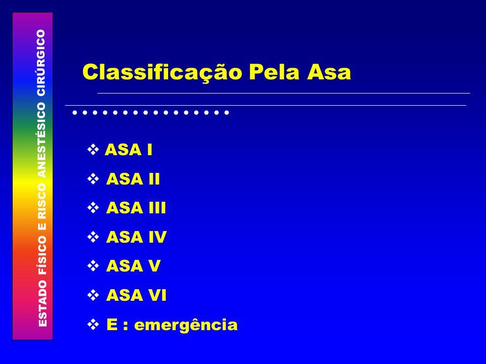ESTADO FÍSICO E RISCO ANESTÉSICO CIRÚRGICO................ Classificação Pela Asa ASA I ASA II ASA III ASA IV ASA V ASA VI E : emergência