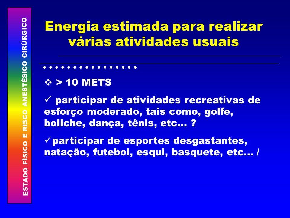 ESTADO FÍSICO E RISCO ANESTÉSICO CIRÚRGICO................ Energia estimada para realizar várias atividades usuais > 10 METS participar de atividades