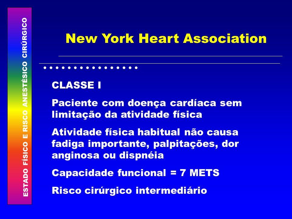 ESTADO FÍSICO E RISCO ANESTÉSICO CIRÚRGICO................ New York Heart Association CLASSE I Paciente com doença cardíaca sem limitação da atividade