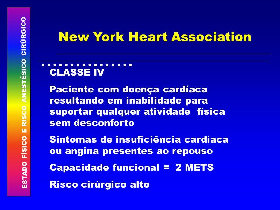 ESTADO FÍSICO E RISCO ANESTÉSICO CIRÚRGICO................ New York Heart Association CLASSE IV Paciente com doença cardíaca resultando em inabilidade