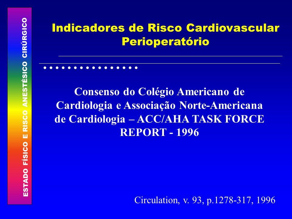 ESTADO FÍSICO E RISCO ANESTÉSICO CIRÚRGICO................ Indicadores de Risco Cardiovascular Perioperatório Consenso do Colégio Americano de Cardiol