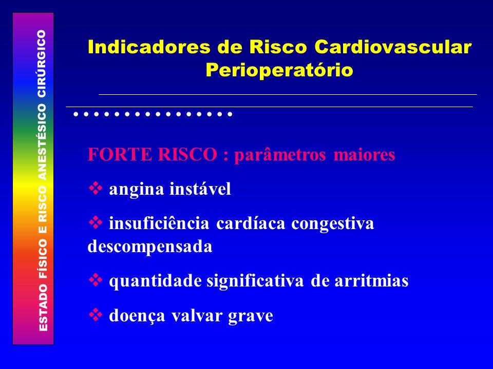 ESTADO FÍSICO E RISCO ANESTÉSICO CIRÚRGICO................ Indicadores de Risco Cardiovascular Perioperatório FORTE RISCO : parâmetros maiores angina