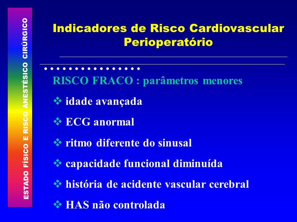 ESTADO FÍSICO E RISCO ANESTÉSICO CIRÚRGICO................ Indicadores de Risco Cardiovascular Perioperatório RISCO FRACO : parâmetros menores idade a