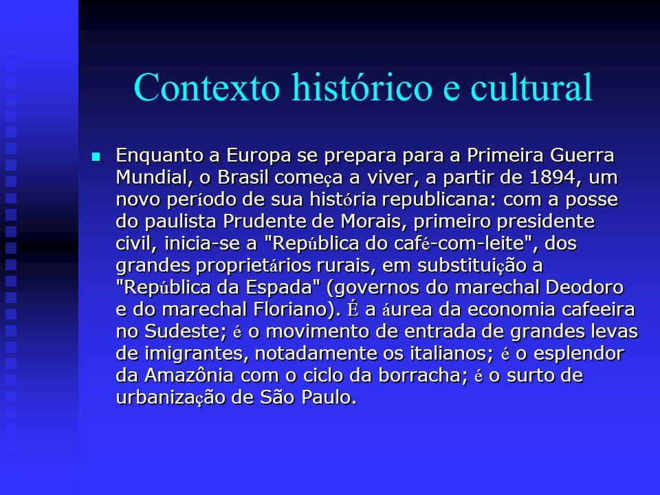 Contexto histórico e cultural Enquanto a Europa se prepara para a Primeira Guerra Mundial, o Brasil come ç a a viver, a partir de 1894, um novo per í