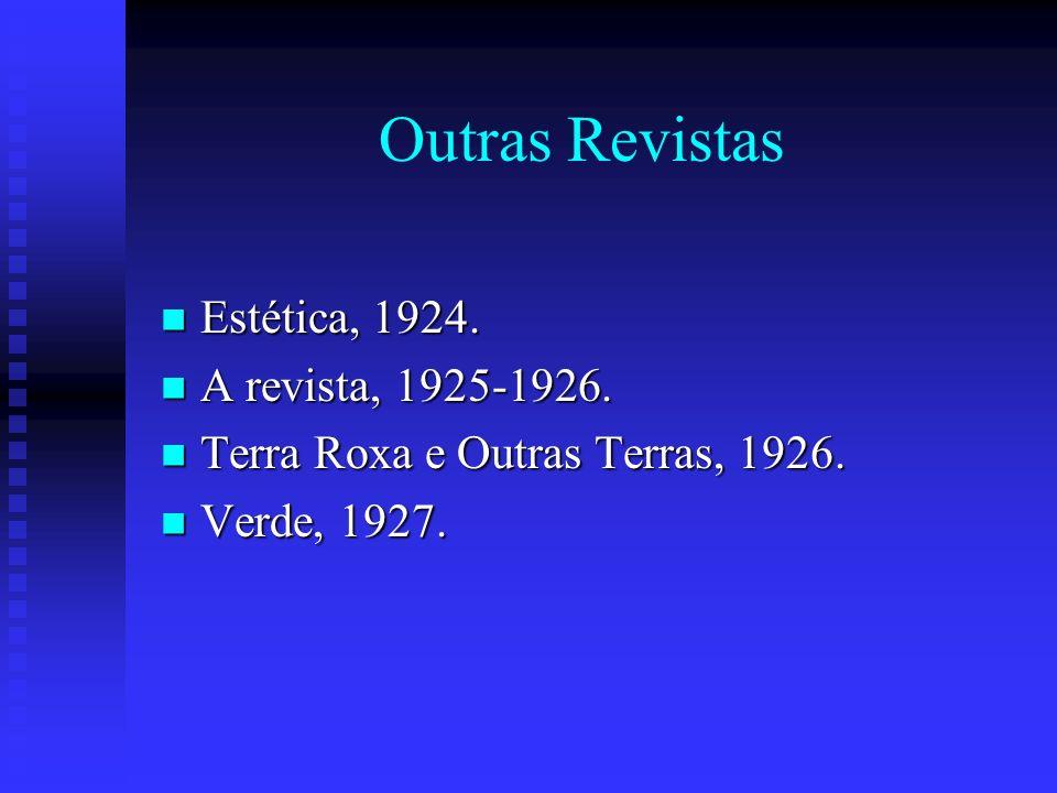 Outras Revistas Estética, 1924. Estética, 1924. A revista, 1925-1926. A revista, 1925-1926. Terra Roxa e Outras Terras, 1926. Terra Roxa e Outras Terr