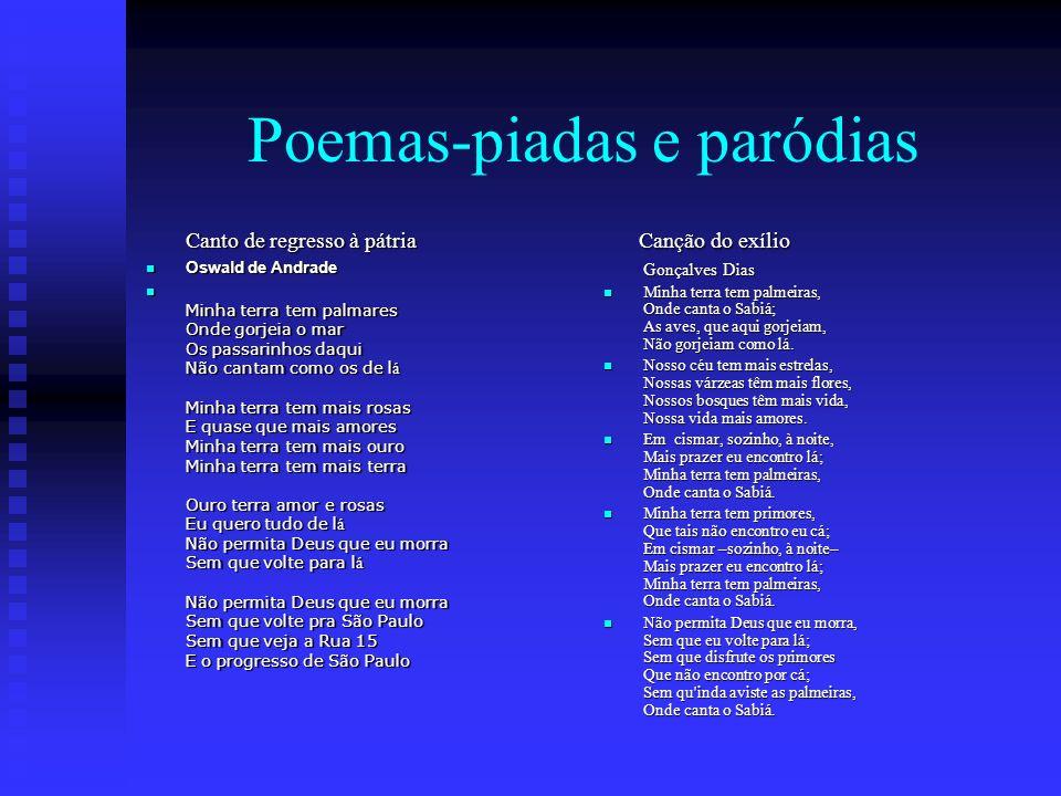 Poemas-piadas e paródias Canto de regresso à pátria Oswald de Andrade Oswald de Andrade Minha terra tem palmares Onde gorjeia o mar Os passarinhos daq