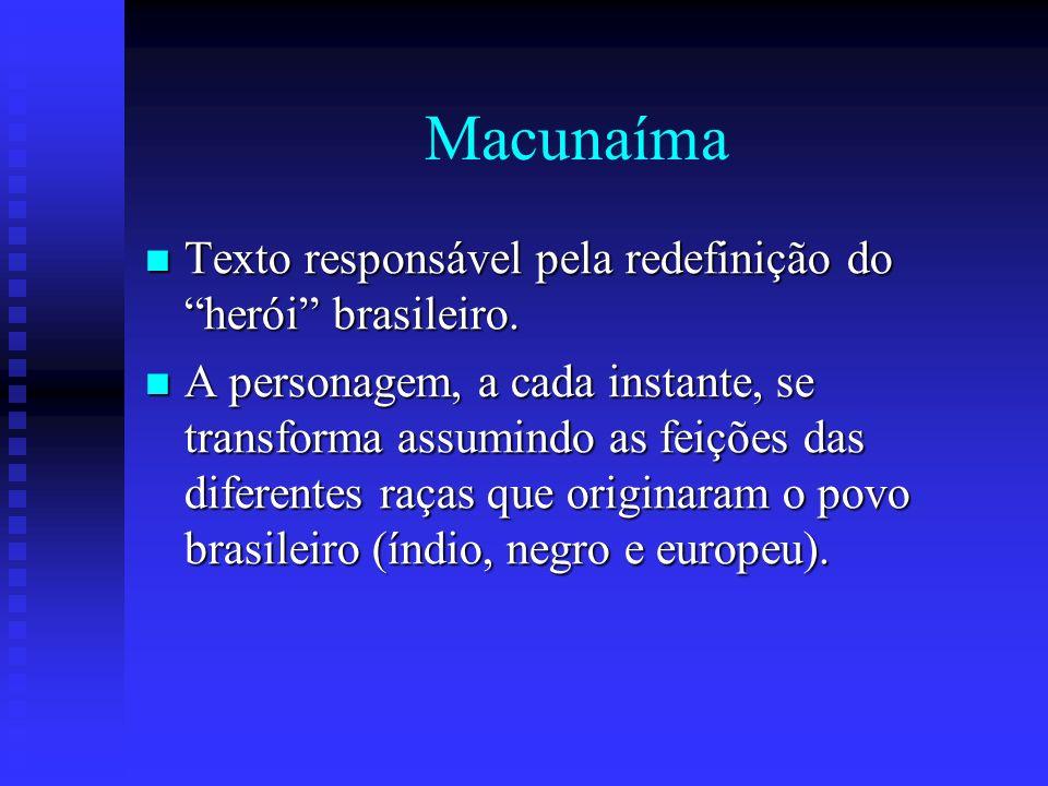 Macunaíma Texto responsável pela redefinição do herói brasileiro. Texto responsável pela redefinição do herói brasileiro. A personagem, a cada instant