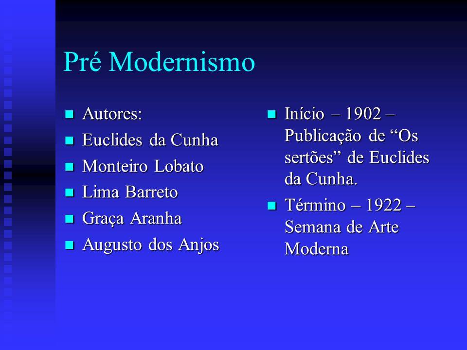 Pré Modernismo Autores: Autores: Euclides da Cunha Euclides da Cunha Monteiro Lobato Monteiro Lobato Lima Barreto Lima Barreto Graça Aranha Graça Aran