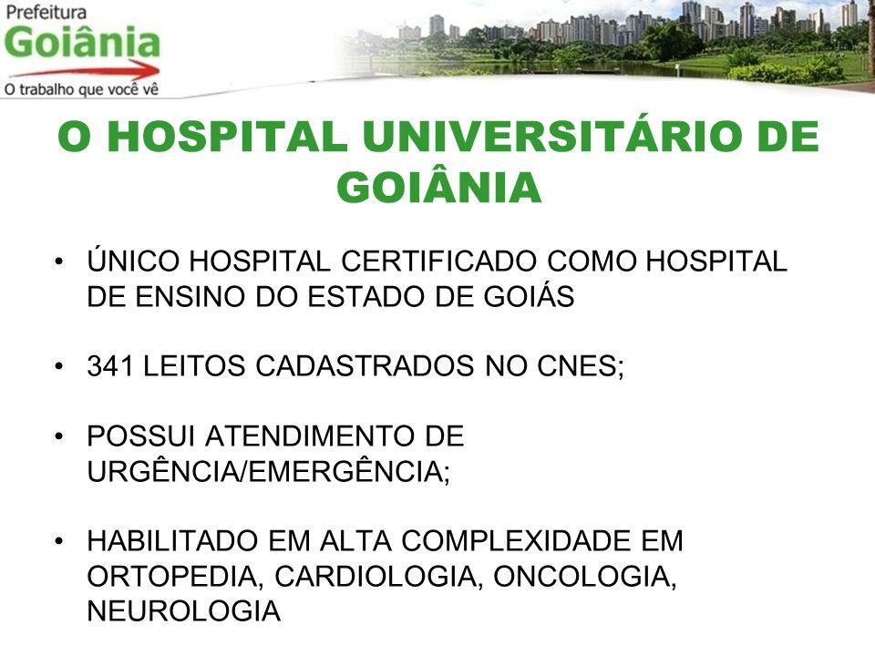 O HOSPITAL UNIVERSITÁRIO DE GOIÂNIA ÚNICO HOSPITAL CERTIFICADO COMO HOSPITAL DE ENSINO DO ESTADO DE GOIÁS 341 LEITOS CADASTRADOS NO CNES; POSSUI ATEND