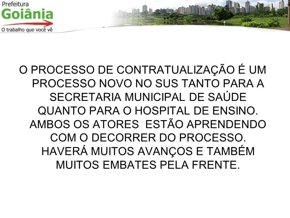O PROCESSO DE CONTRATUALIZAÇÃO É UM PROCESSO NOVO NO SUS TANTO PARA A SECRETARIA MUNICIPAL DE SAÚDE QUANTO PARA O HOSPITAL DE ENSINO. AMBOS OS ATORES