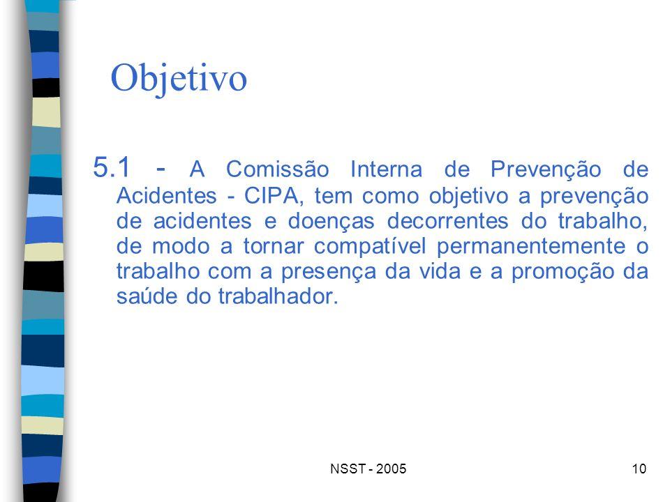 NSST - 200510 Objetivo 5.1 - A Comissão Interna de Prevenção de Acidentes - CIPA, tem como objetivo a prevenção de acidentes e doenças decorrentes do