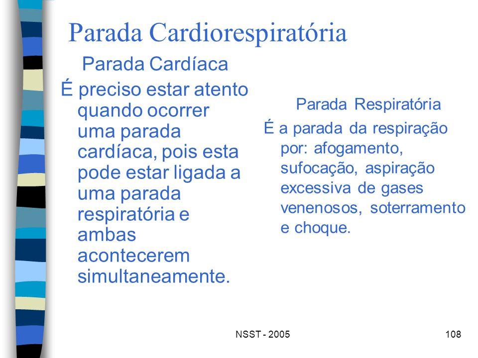 NSST - 2005108 Parada Cardiorespiratória Parada Cardíaca É preciso estar atento quando ocorrer uma parada cardíaca, pois esta pode estar ligada a uma