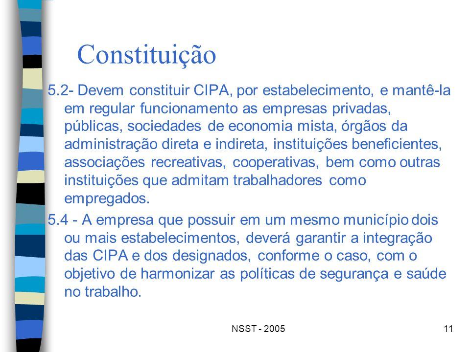 NSST - 200511 Constituição 5.2- Devem constituir CIPA, por estabelecimento, e mantê-la em regular funcionamento as empresas privadas, públicas, socied