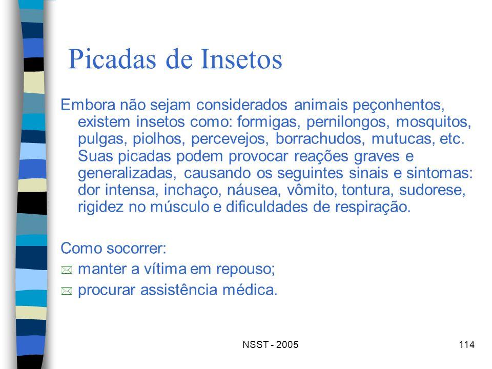 NSST - 2005114 Picadas de Insetos Embora não sejam considerados animais peçonhentos, existem insetos como: formigas, pernilongos, mosquitos, pulgas, p