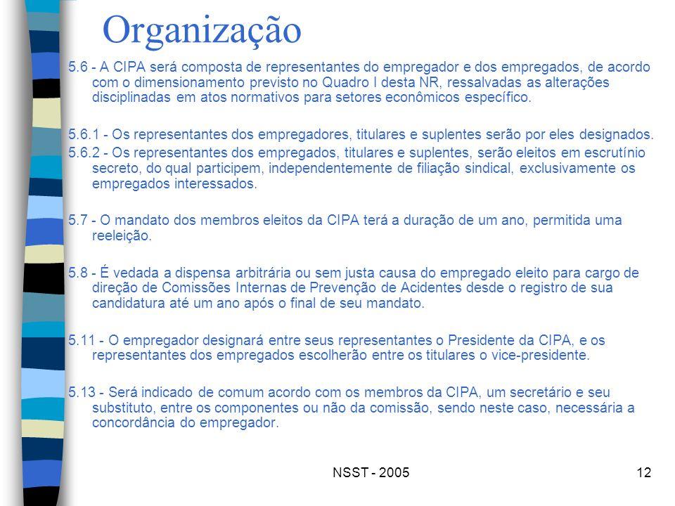 NSST - 200512 Organização 5.6 - A CIPA será composta de representantes do empregador e dos empregados, de acordo com o dimensionamento previsto no Qua