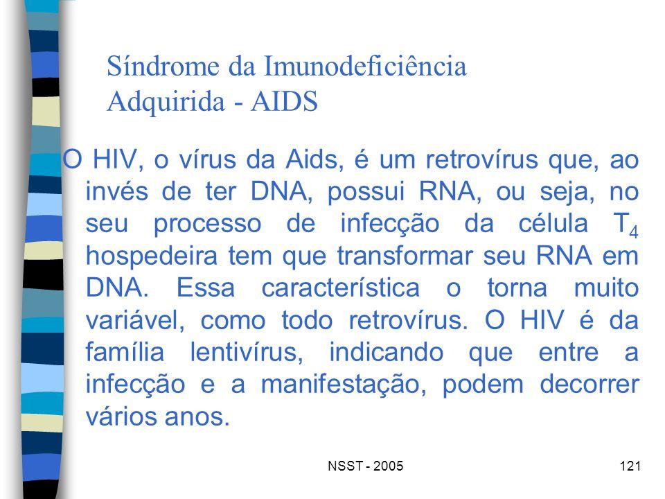 NSST - 2005121 Síndrome da Imunodeficiência Adquirida - AIDS O HIV, o vírus da Aids, é um retrovírus que, ao invés de ter DNA, possui RNA, ou seja, no