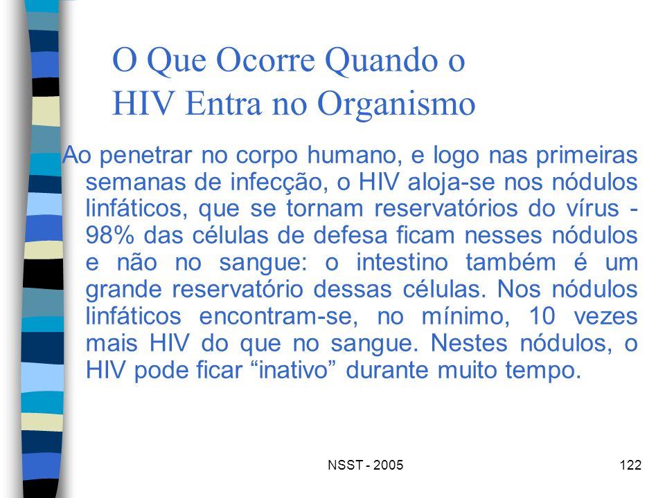 NSST - 2005122 O Que Ocorre Quando o HIV Entra no Organismo Ao penetrar no corpo humano, e logo nas primeiras semanas de infecção, o HIV aloja-se nos
